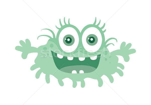 Funny Smiling Germ. Blue Cartoon Character. Vector Stock photo © robuart