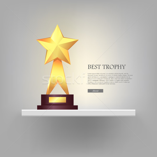 Best Gold Star Trophy Standing on White Shelf Stock photo © robuart