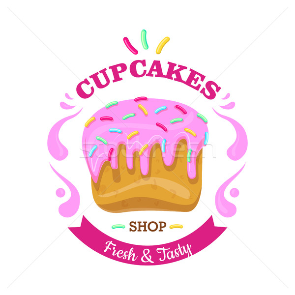 Cupcake with Fowing Topping and confetti. Vector Stock photo © robuart