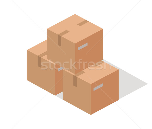 Cargo Paper Boxes Isolated on White. Isometric 3d Stock photo © robuart