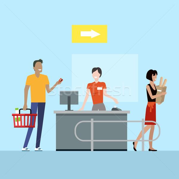 Stok fotoğraf: Süpermarket · çalışma · süreç · örnek · vektör · stil