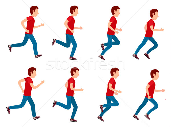 Running Man Animation Sprite Set. 8 Frame Loop. Stock photo © robuart
