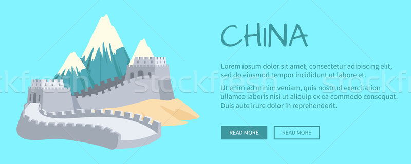 Hegyek Nagy Fal ázsiai épület fehér homok Stock fotó © robuart