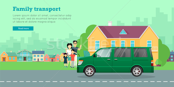 Family Transport Flat Vector Web Banner Stock photo © robuart