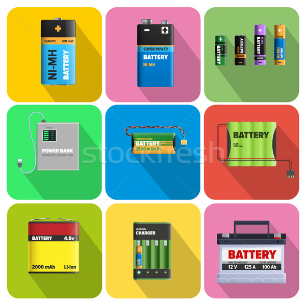 Stock photo: Colorful Charging Devices Illustrations Set