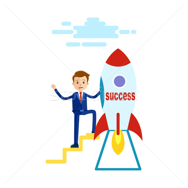 Businessman has Reached Success Goes to Rocket Stock photo © robuart