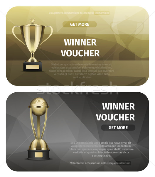 Winner Voucher with Gold Trophy for Victory Vector Stock photo © robuart
