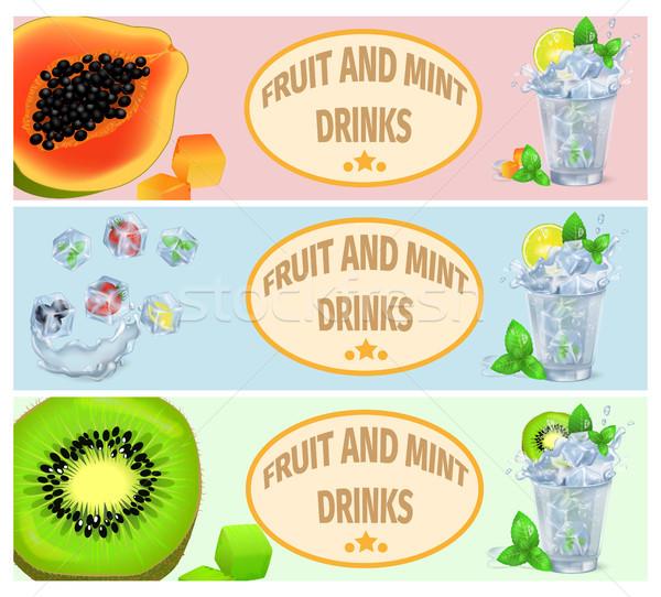 Fruits d'été menthe boissons promotion affiche vecteur Photo stock © robuart