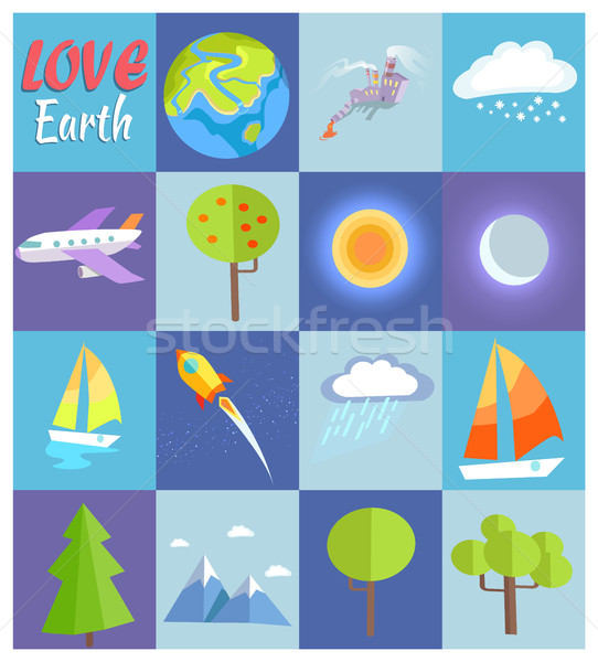Love Earth Poster with Illustrations in Cells Stock photo © robuart