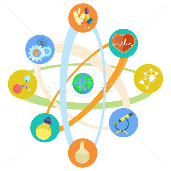 Nauki ikona atomowy model zestaw mikroskopem Zdjęcia stock © robuart