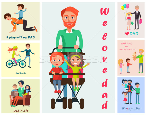 Stock photo: We Love Dad Vector Poster with Children s Wishes