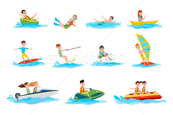 Characters Do Summer Water Sport Illustrations Set Stock photo © robuart