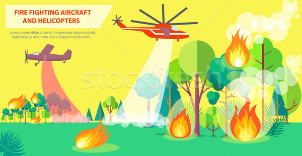 Fire Fighting Poster with Aircraft and Helicopter Stock photo © robuart
