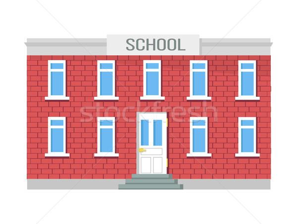 école bâtiment fenêtres entrée porte isolé Photo stock © robuart