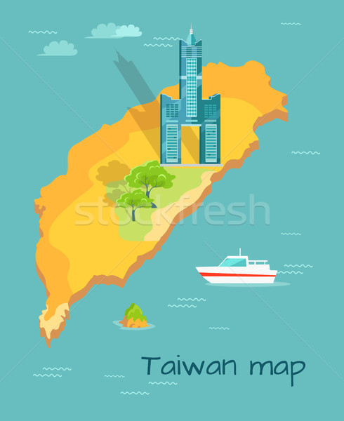 Cartoon Taiwán mapa famoso cielo torre Foto stock © robuart