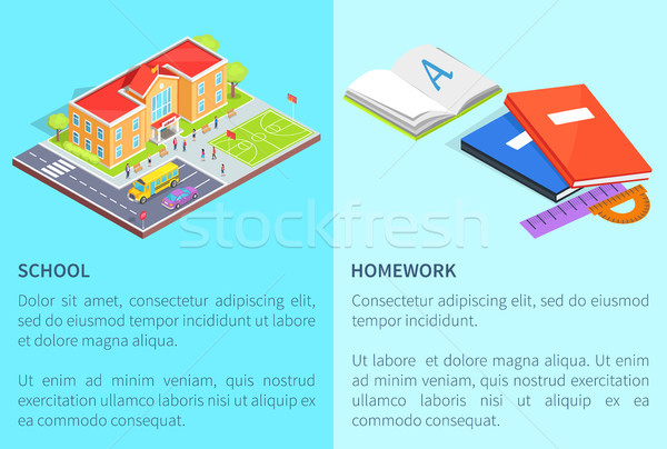 Back to School Education Posters with Isolated 3D Stock photo © robuart