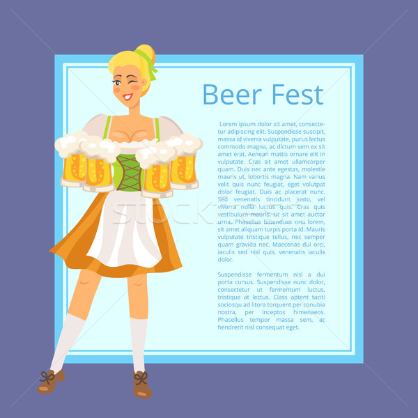 Beer Fest Poster Depicting Blonde Woman with Mugs Stock photo © robuart