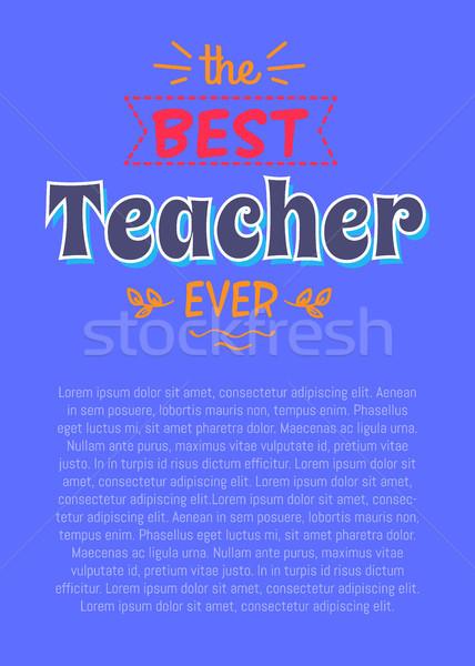 Best Teacher Ever Vector Illustration light-purple Stock photo © robuart