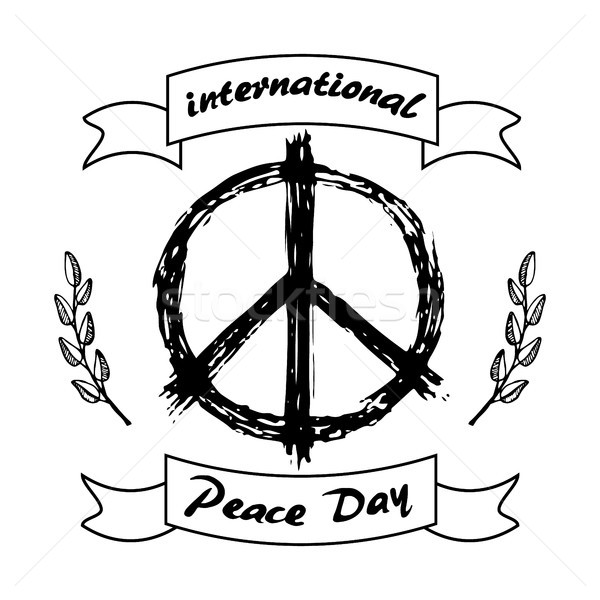 International Peace Day Logo with Hippie Sign Icon Stock photo © robuart