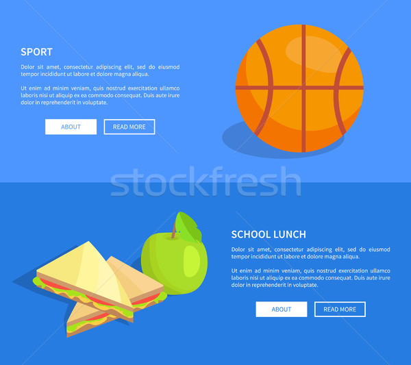 School Lunch and Sport Web Banners Set Vector Stock photo © robuart
