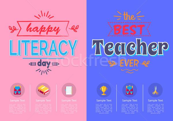 Due manifesti scuola alfabetizzazione giorno migliore Foto d'archivio © robuart