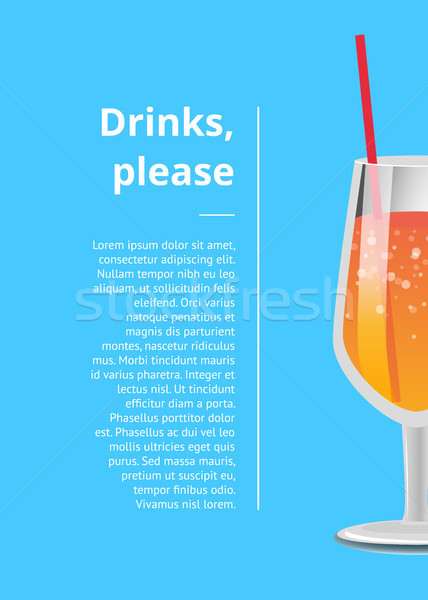Drinks Please Poster with Lemonade Cocktail Glass Stock photo © robuart