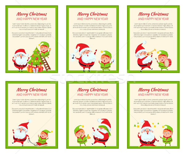 Szett kártyák boldog mikulás nevetséges manó Stock fotó © robuart