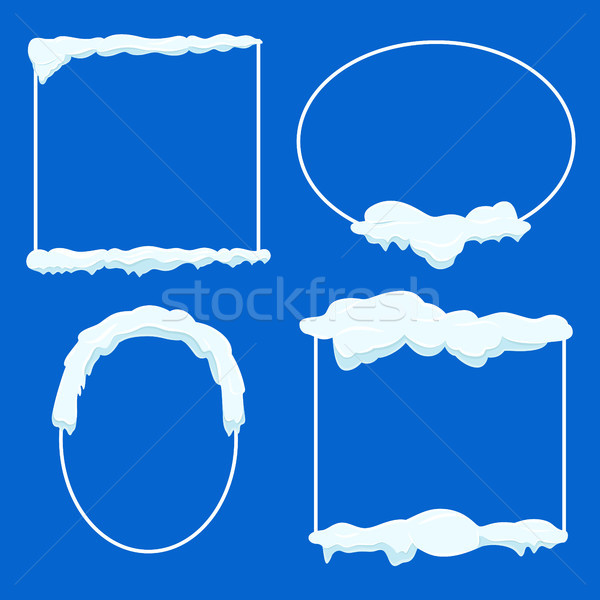 Thin Lined Frame Collection with Snow on Blue Stock photo © robuart