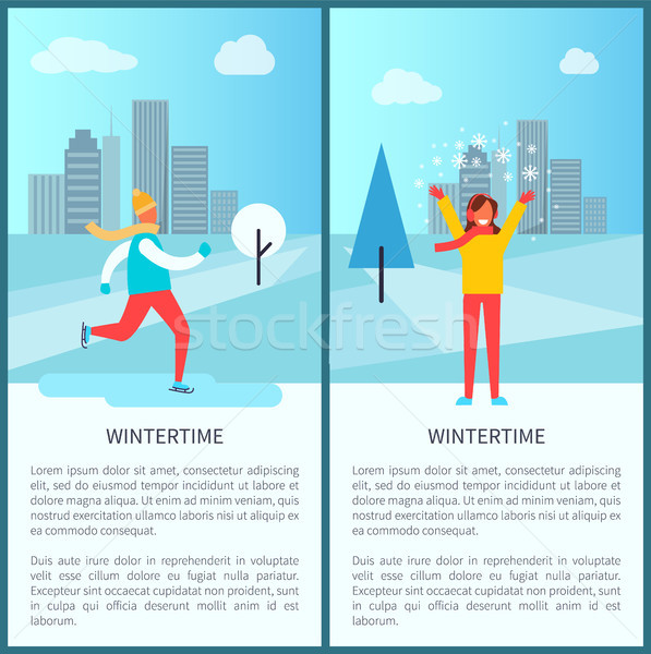 Wintertime Snowy City Park Vector Illustration Stock photo © robuart