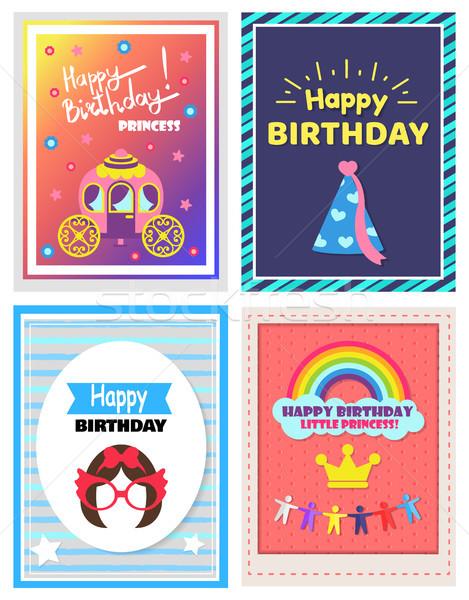 Joyeux anniversaire peu princesse cute affiches Photo stock © robuart