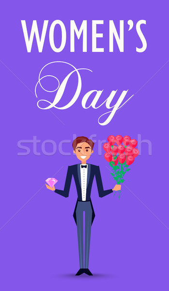 Happy Man in Suit Holds Precious Stone and Flowers Stock photo © robuart