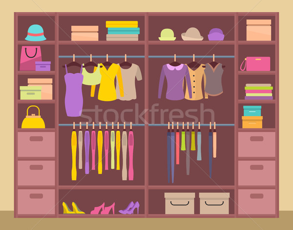 Huge upboard with Varied Clothes, Color Banner Stock photo © robuart