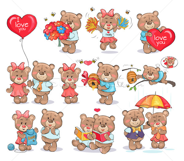 Cute Bears Couples Spend Valentines Day Together Stock photo © robuart