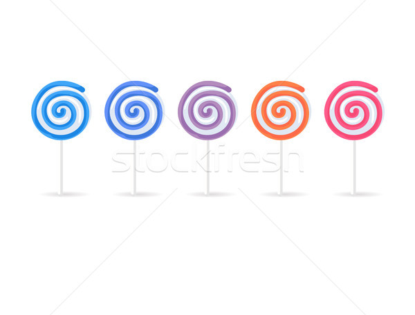Swirl Spiral Lollipops Candy Set Isolated on White Stock photo © robuart