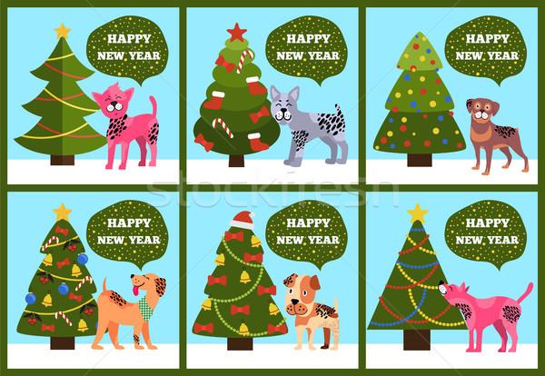 Congrats Cards on Green Merry wish Puppy Tree Set Stock photo © robuart