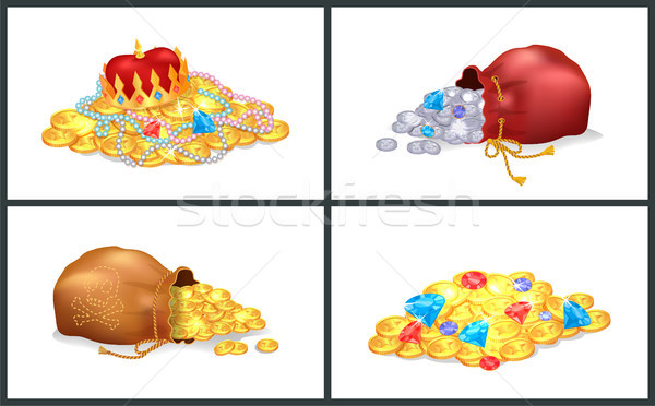Treasure Gold Set of Posters Vector Illustration Stock photo © robuart