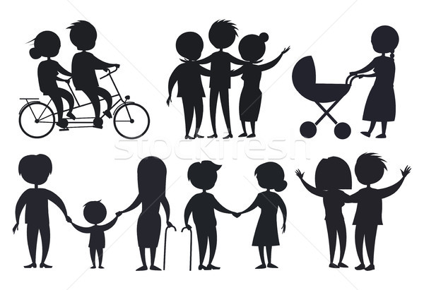 Happy Grandparents Senior Couple Silhouettes Isolated Stock photo © robuart