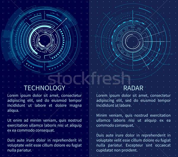 Technologii banner dwa interfejs wzorców tekst Zdjęcia stock © robuart