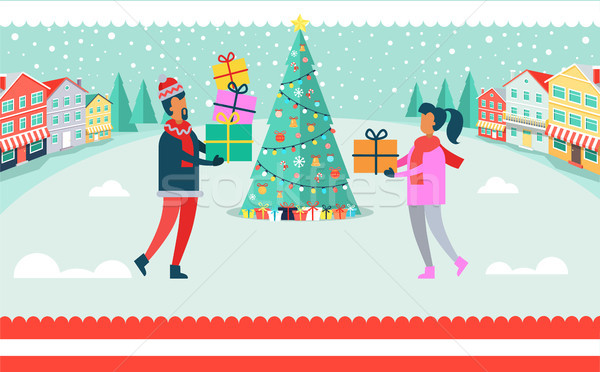 Man and Woman Christmas Tree Vector Illustration Stock photo © robuart