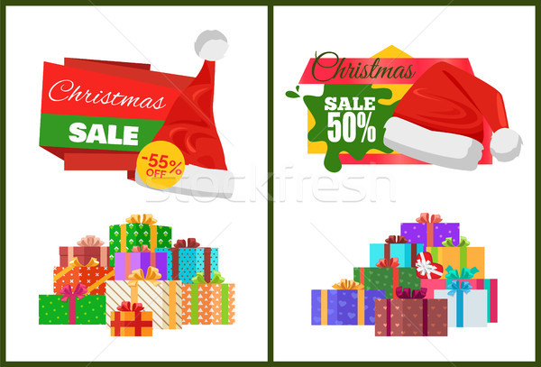 Christmas Sale Cards on Half Price off Stickers Stock photo © robuart
