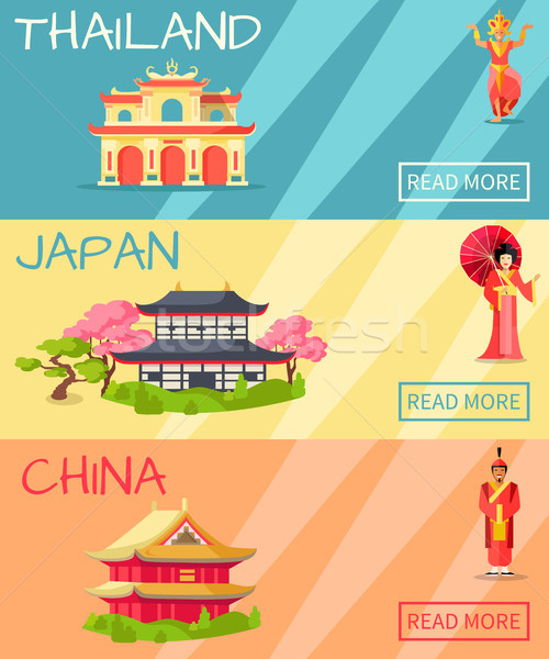 Thailand, Japan and China Types of Houses Banner Stock photo © robuart