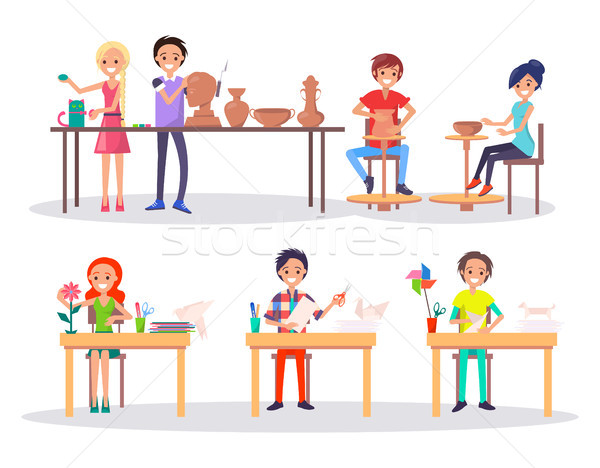 Boys and Girl at Art School Isolated Illustration Stock photo © robuart