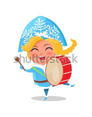 Smiling Snow Maiden Jumping High on Snow Vector Stock photo © robuart