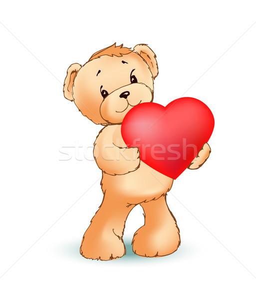 çok güzel kabarık oyuncak ayı büyük kırmızı kalp Stok fotoğraf © robuart