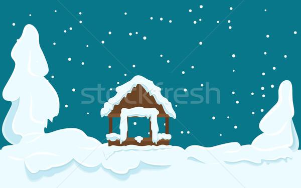 Gazebo Covered with Snow Winter Scene Illustration Stock photo © robuart