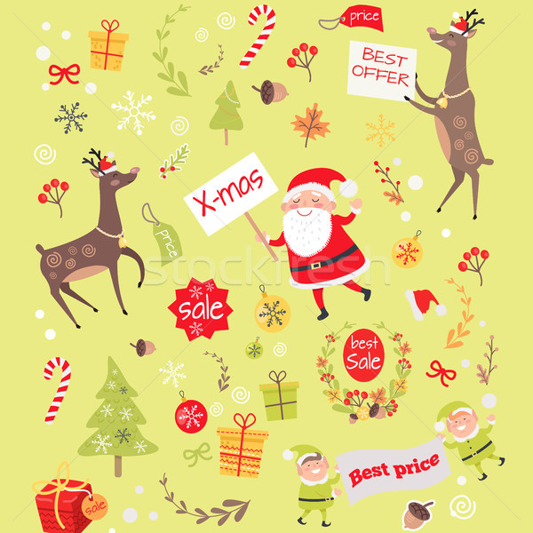 Seamless Pattern with Christmas Elves, Santa Claus Stock photo © robuart