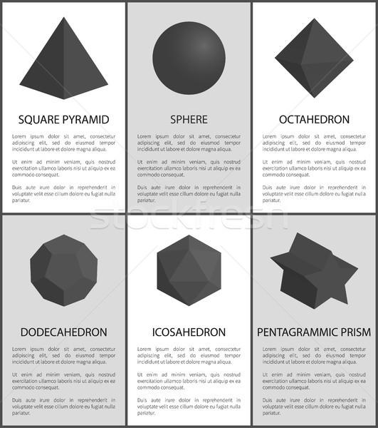 Sfera prisma nero geometrica raccolta testo Foto d'archivio © robuart