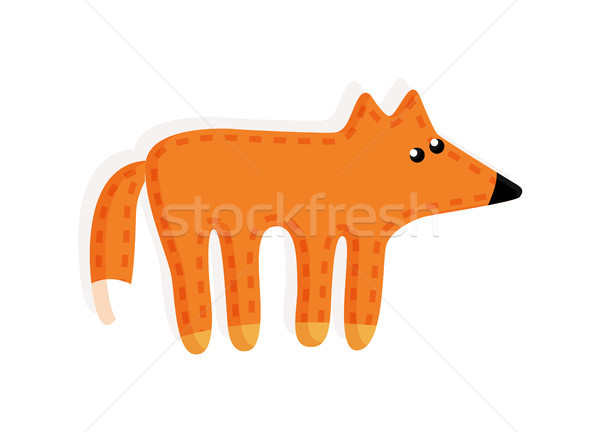 Vignette Fox pelucheux queue jouet cartoon Photo stock © robuart