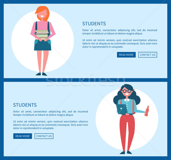 Students on Internet Informative Promotional Page Stock photo © robuart