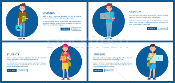Students Posters Online Education Concept Vector Stock photo © robuart